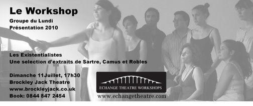 bannière spectacle théâtre les existantialistes une sélection de sartres camus et robles le workshop